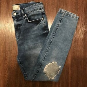 Free People Jeans - Free People high waisted distressed blue jeans
